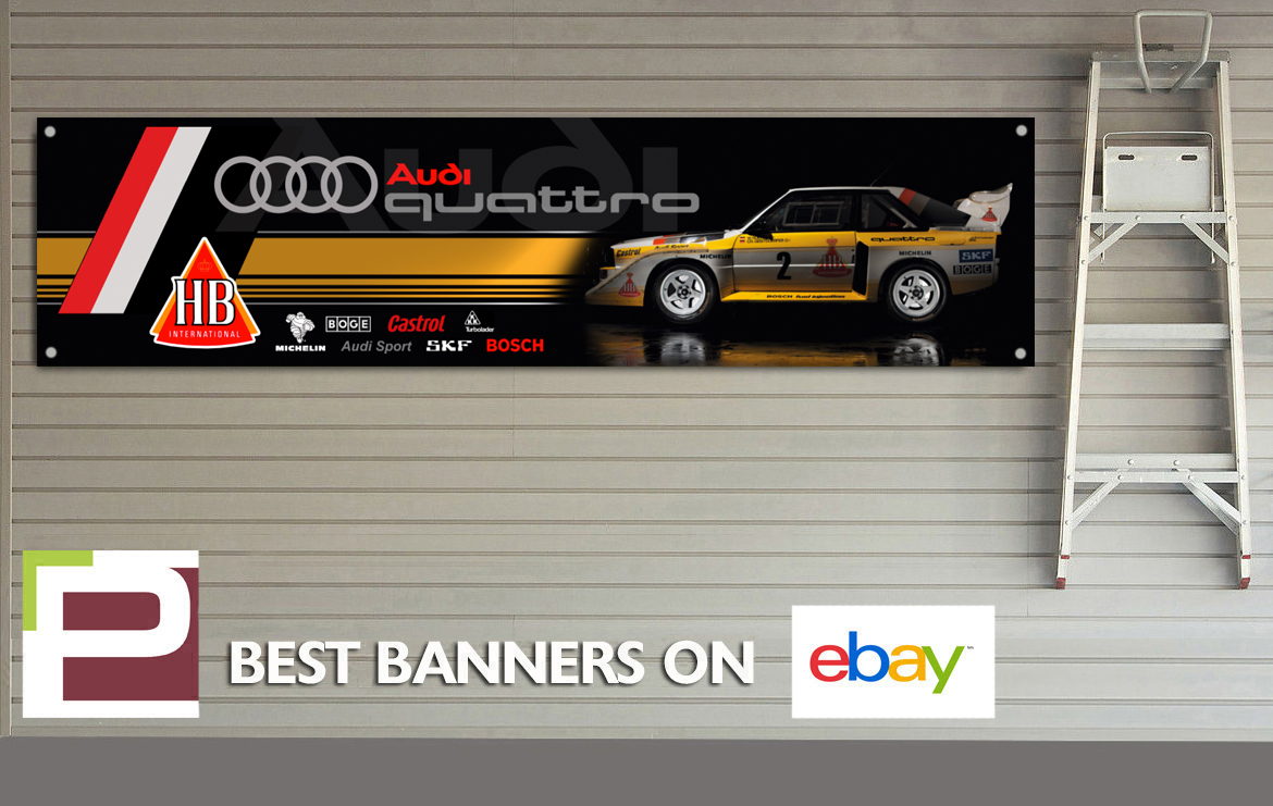Audi quattro rally car banner for workshop garage group