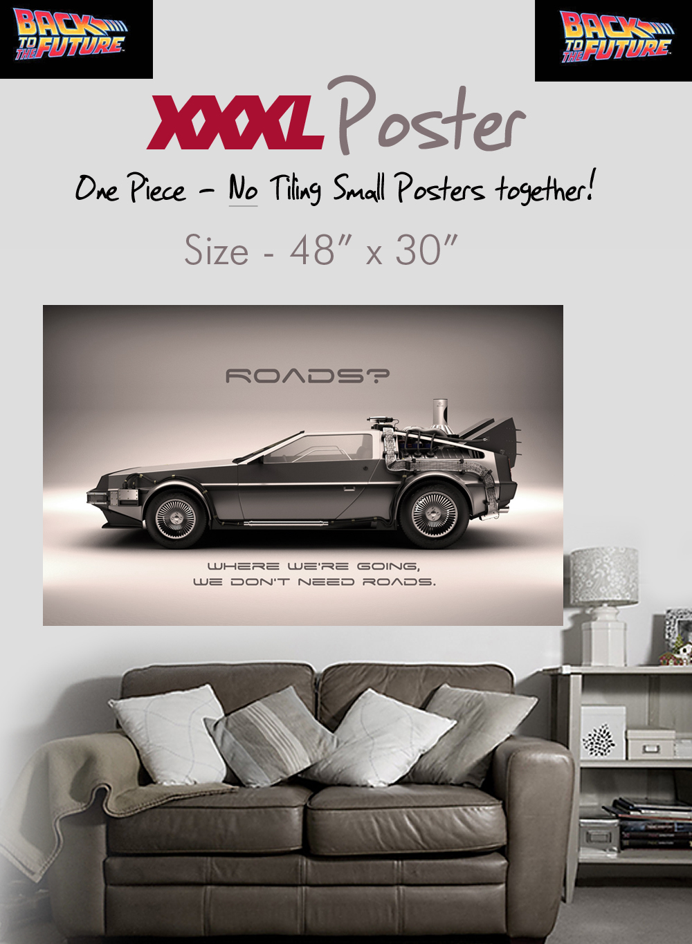 back to the future giant wall art delorean poster xxl ebay. Black Bedroom Furniture Sets. Home Design Ideas
