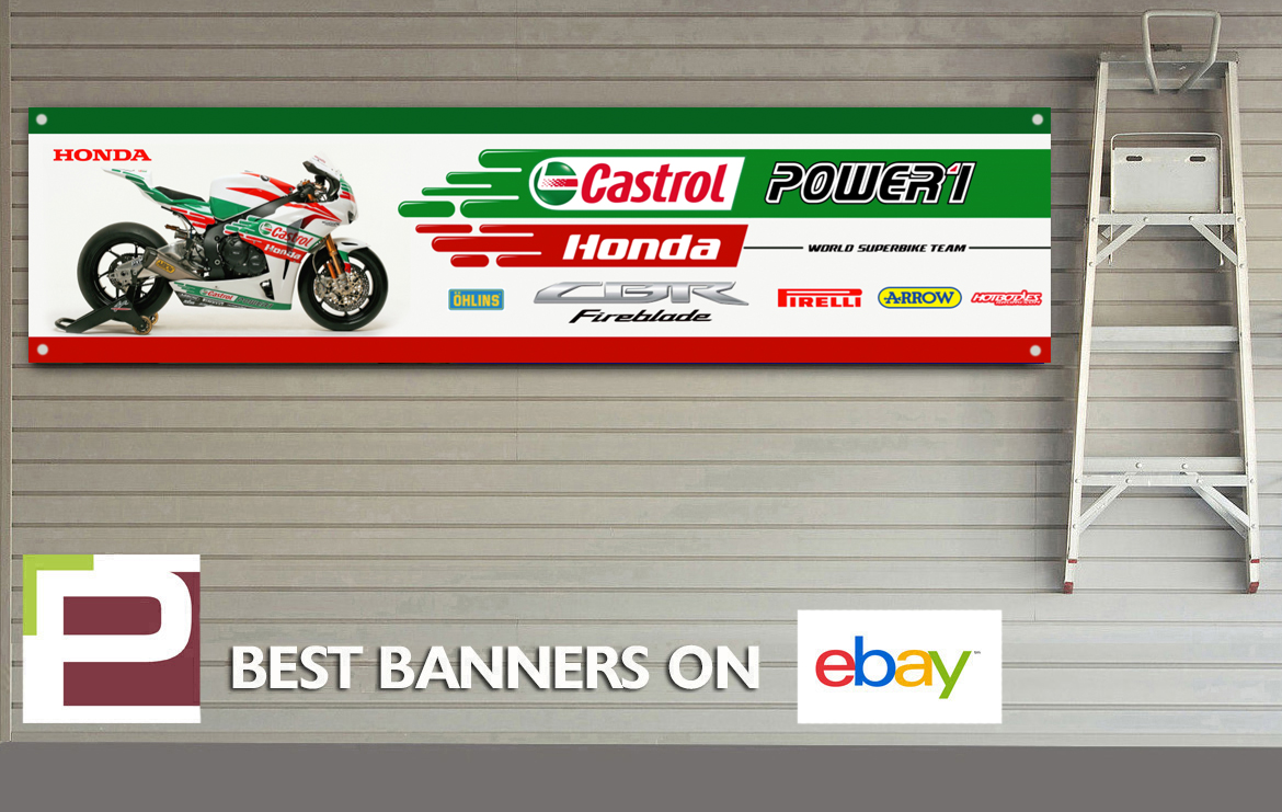 Honda cbr fireblade castrol banner xl for workshop garage